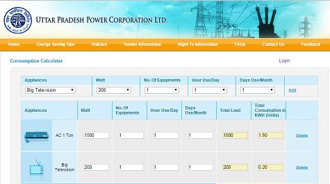 Calculate Electricity Consumption [Uttar Pradesh]